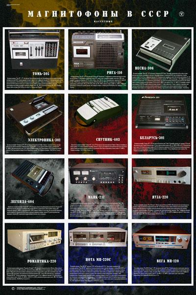 1573. Советский плакат: Магнитофоны в СССР (кассетные)