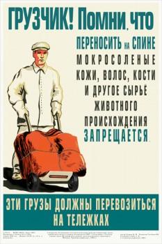 1584. Советский плакат: Грузчик! Помни, что переносить на спине мокросоленые кожи, волос, кости и другое сырье животного происхождения запрещается.