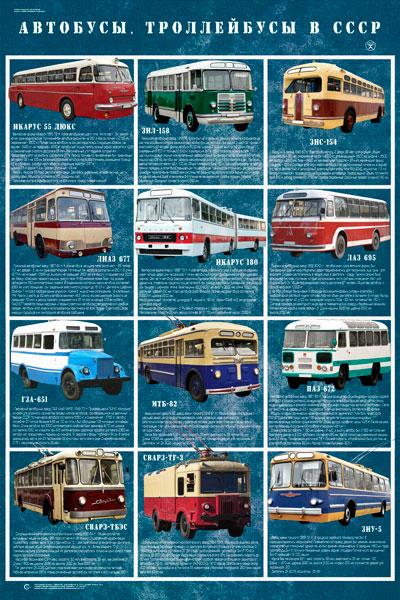 1591. Советский плакат: Автобусы, троллейбусы в СССР