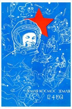 1677. Советский плакат: Земля - Космос - Земля 12.04.61.