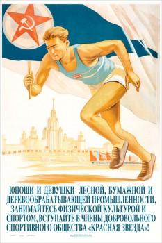 1693. Советский плакат: Юноши и девушки лесной, бумажной и деревообрабатывающей промышленности, занимайтесь физической культурой и спортом...