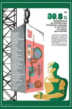1762. Советский плакат: На 30,8% увеличатся за пятилетие реальные доходы в расчете на душу населения