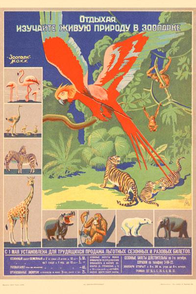 253. Советский плакат: Отдыхая, изучайте живую природу в зоопарке