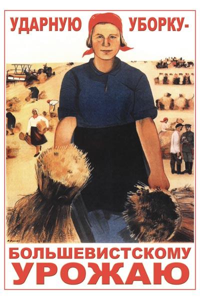005. Советский плакат: Ударную уборку большевистскому урожаю