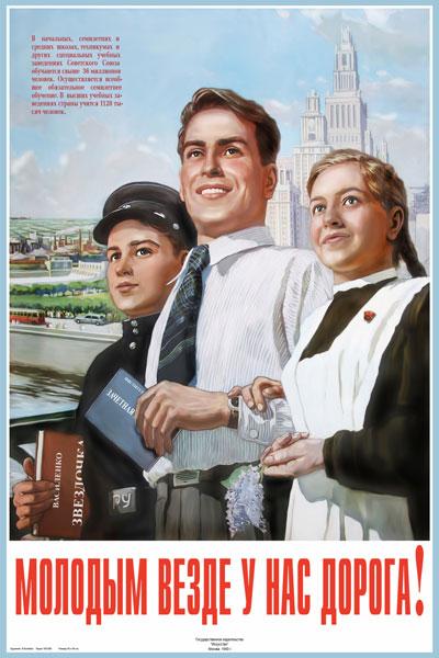 037. Советский плакат: Молодым везде у нас дорога!