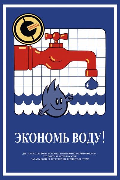 1003. Советский плакат: Экономь воду!