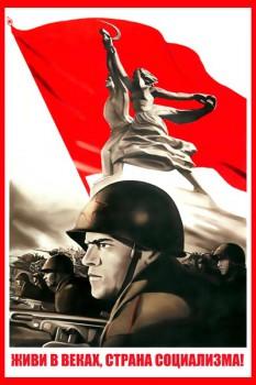 1025. Советский плакат: Живи в веках, страна социализма!
