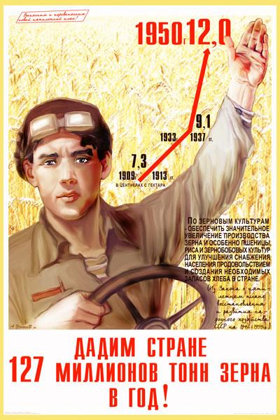 1071. Советский плакат: Дадим стране 127 миллионов тонн зерна в год!