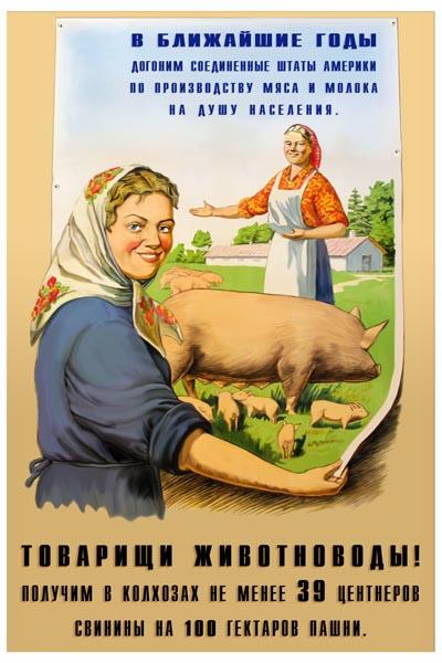 1075. Советский плакат: Товарищи животноводы!