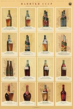 1153. Советский плакат: Напитки СССР (пиво, медовые напитки)