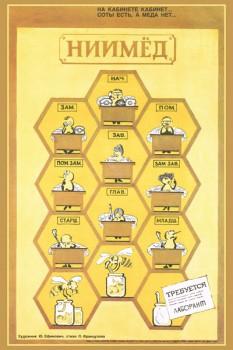 """1160. Советский плакат: На кабинете кабинет... соты есть, а меда нет... """"НИИ МЕД"""""""