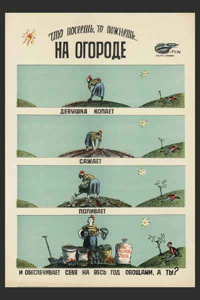 1170. Советский плакат: На огороде. Что посеешь, то пожнешь...
