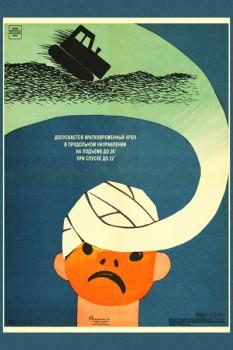 1176. Советский плакат: Допускается кратковременный крен в продольном направлении на подъеме до 26°, при спуске 22°