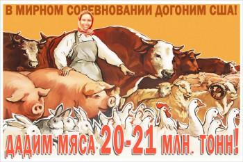 1220. Советский плакат: В мирном соревновании догоним США!