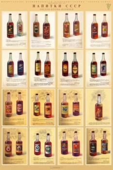 1229. Советский плакат: Напитки СССР (ликеры, кремы, наливки)