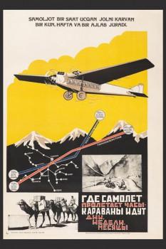 1247. Советский плакат: Где самолет пролетает часы - караваны идут дни, недели, месяцы