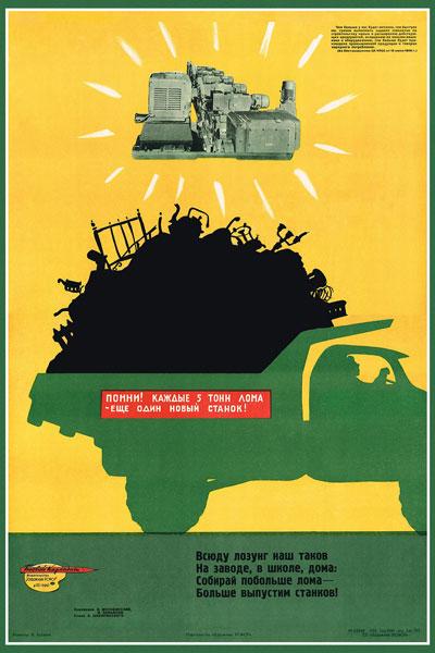 1368. Советский плакат: Помни! Каждые 5 тонн лома - еще один новый станок!