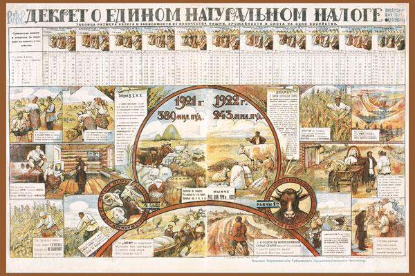 1400. Советский плакат: Декрет о едином натуральном налоге