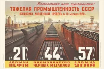 1415. Советский плакат: Тяжелая промышленность СССР превысила довоенный уровень за 10 месяцев 1950 г