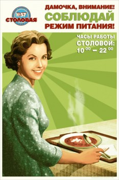 1507. Советский плакат: Дамочка, внимание! Соблюдай режим питания!