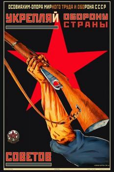 550. Советский плакат: Укрепляй оборону страны советов