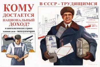 736. Советский плакат: Кому достается национальный доход?