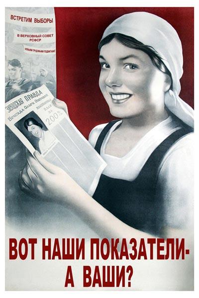 824. Советский плакат: Вот наши показатели - а ваши?