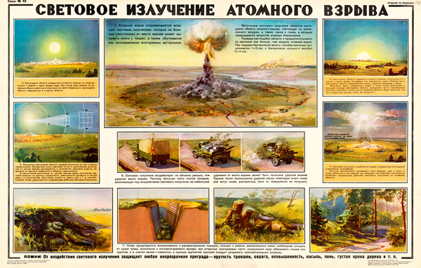 0045 (2). Военный ретро плакат: Световое излучений атомного взрыва