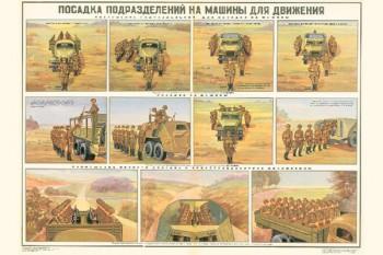 0249. Военный ретро плакат: Посадка подразделений на машины для движения