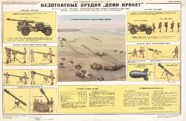 """0386. Военный ретро плакат: Безоткатное орудие """"Деви Крокет"""""""