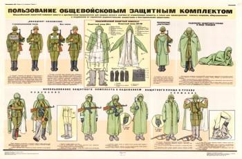 044 (5) Военный ретро плакат: Пользование общевойсковым защитным комплектом