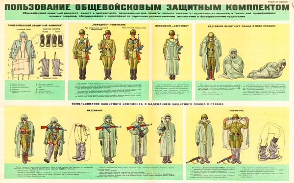 044 (7) Военный ретро плакат: Пользование общевойсковым защитным комплектом (Вариант № 2)