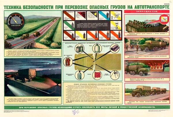 0765 (4). Военный ретро плакат: Техника безопасности при перевозке опасных грузов на автотранспорте