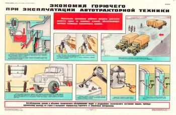 0768 (9). Военный ретро плакат: Экономия горючего при эксплуатации автотракторной техники