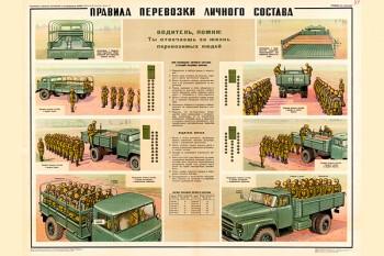 0768 (3). Военный ретро плакат: Правила перевозки личного состава
