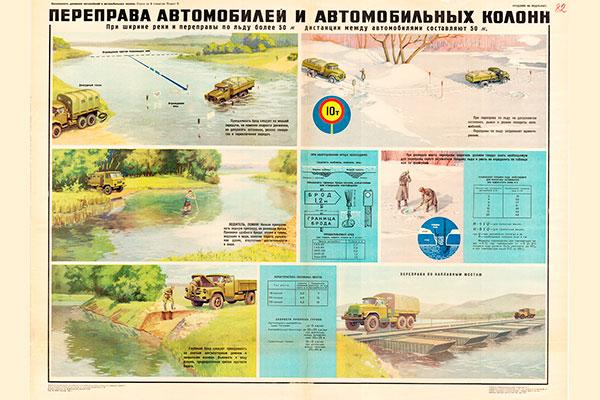 0768 (4). Военный ретро плакат: Переправа автомобилей и автомобильных колонн