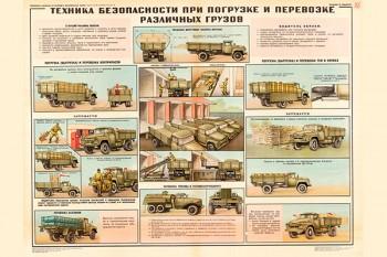 0768 (7). Военный ретро плакат: Техника безопасности при погрузке и перевозке различных грузов