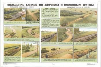 1094. Военный ретро плакат: Вождение танков по дорогам и колонным путям