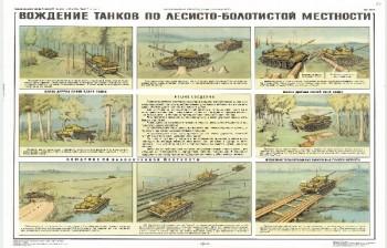 1096. Военный ретро плакат: Вождение танков по лесисто-болотистой местности