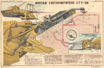 1131. Военный ретро плакат: Монтаж снегоочистителя СТУ-2М