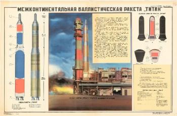 """1142. Военный ретро плакат: Межконтинентальная баллистическая ракета """"Титан"""""""