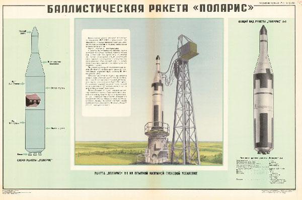 """1147. Военный ретро плакат: Баллистическая ракета """"Поларис"""""""