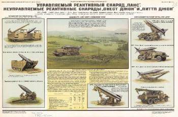 """1152. Военный ретро плакат: Управляемый реактивный снаряд """"Панс"""". Неуправляемые реактивные снаряды """"Онест Джон"""" и """"Питтп Джон"""""""