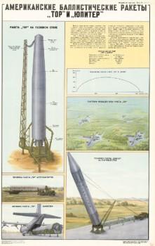 """1153. Военный ретро плакат: Американские баллистические ракеты """"Тор"""" и """"Юпитер"""""""