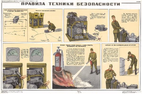 1169. Военный ретро плакат: Правила техники безопасности