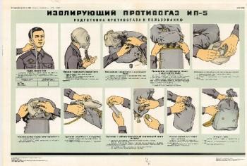 1178. Военный ретро плакат: Изолирующий противогаз ИП-5 (подготовка к пользованию)