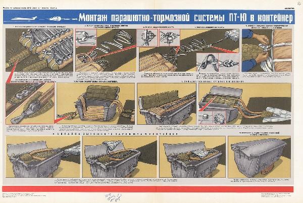 1202. Военный ретро плакат: Монтаж парашютно-тормозной системы ПТ-Ю в контейнер