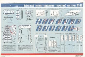 1204. Военный ретро плакат: Войсковой ремонт парашютно-тормозной системы ПТ-Ю