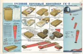 1206. Военный ретро плакат: Грузовой почтовый контейнер ГК-П