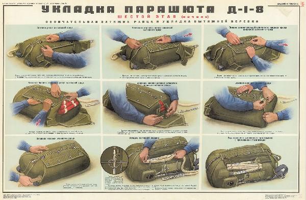 1209. Военный ретро плакат: Укладка парашюта Д-1-8 (часть 2)